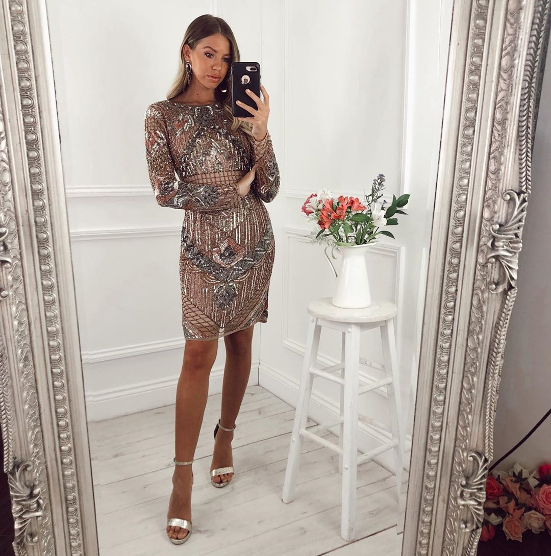 Rose gold beaded mini dress with long sleeves