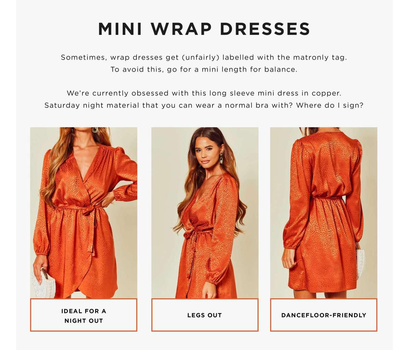 Three types of wrap dresses - mini dress
