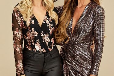 Models wear eva sequin bodysuit with black jeans with second model in rose gold wrap dress