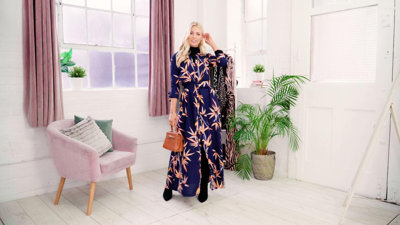maxi dress worn with roll neck styled for winter