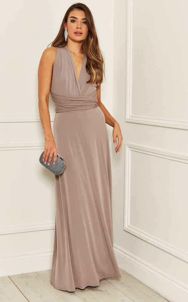 Alexia Multiway Maxi Bridesmaid Dress in Mink