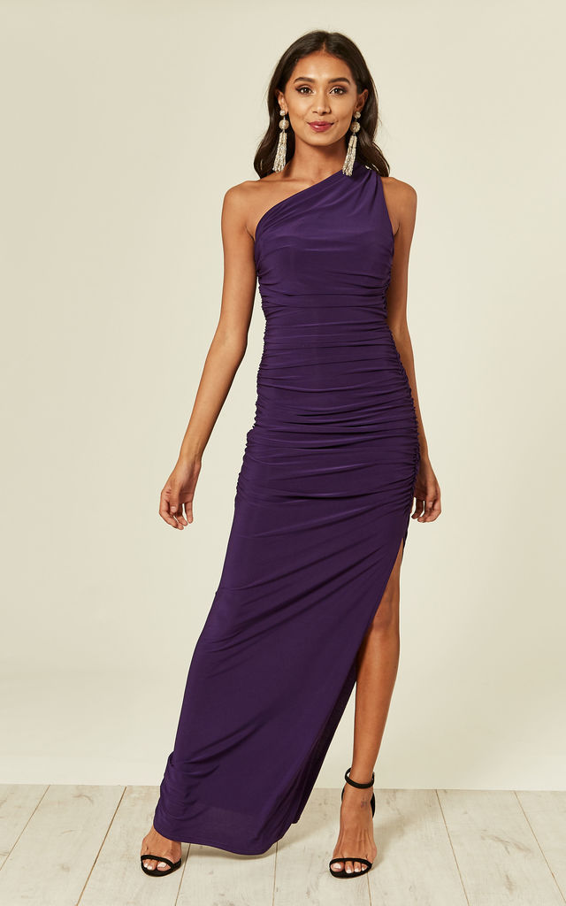 Angelina One Shoulder Maxi Dress in Purple
