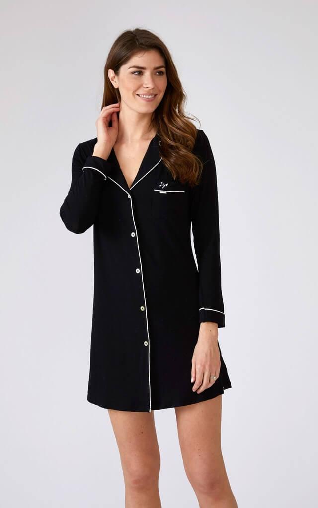 Long Sleeve Nightshirt in Black