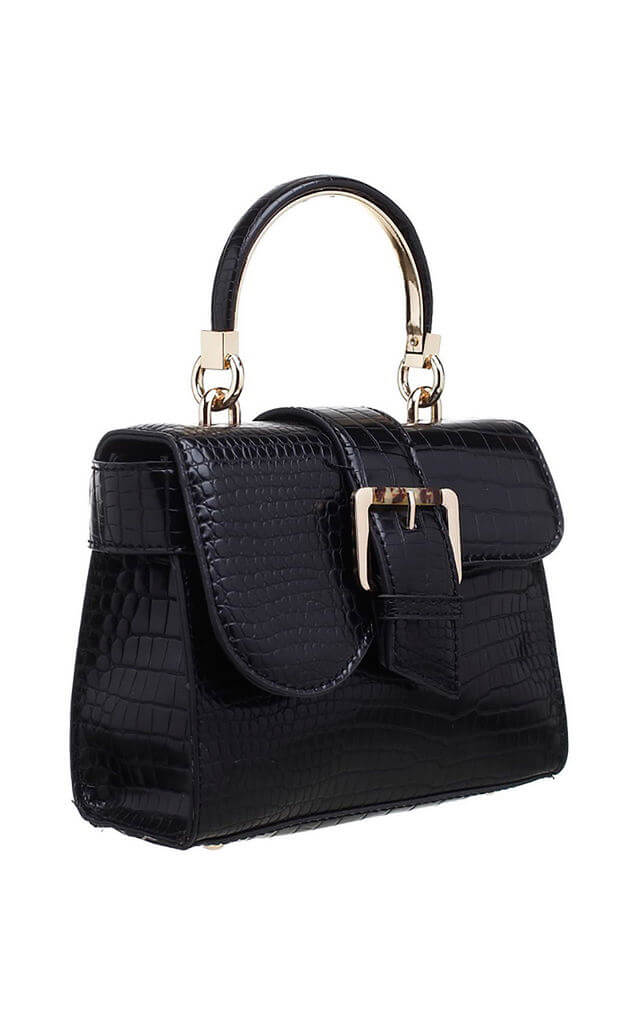 Black Croc Print Bag with Small Buckle