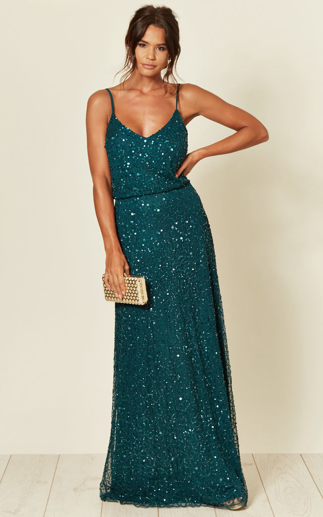 Cami Sequin Embellished Maxi Dress in Jade Green