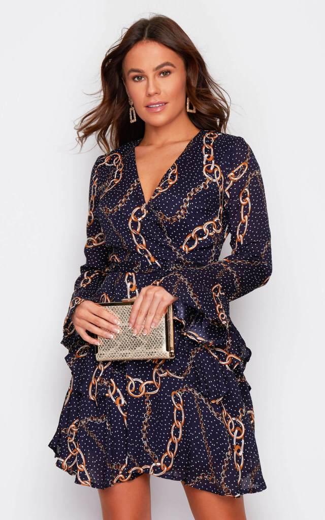 Kim Bell Sleeve Chiffon Dress in Navy Chain Print