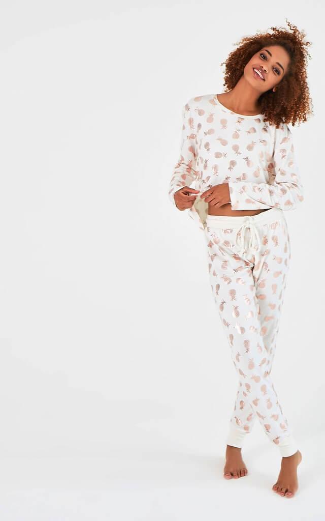 Long Sleeve Pyjama Set with Foil Pineapples