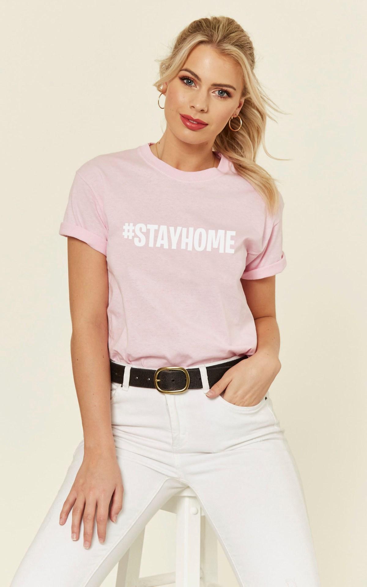 Social Distancing #stayhome Slogan Tshirt in Pink