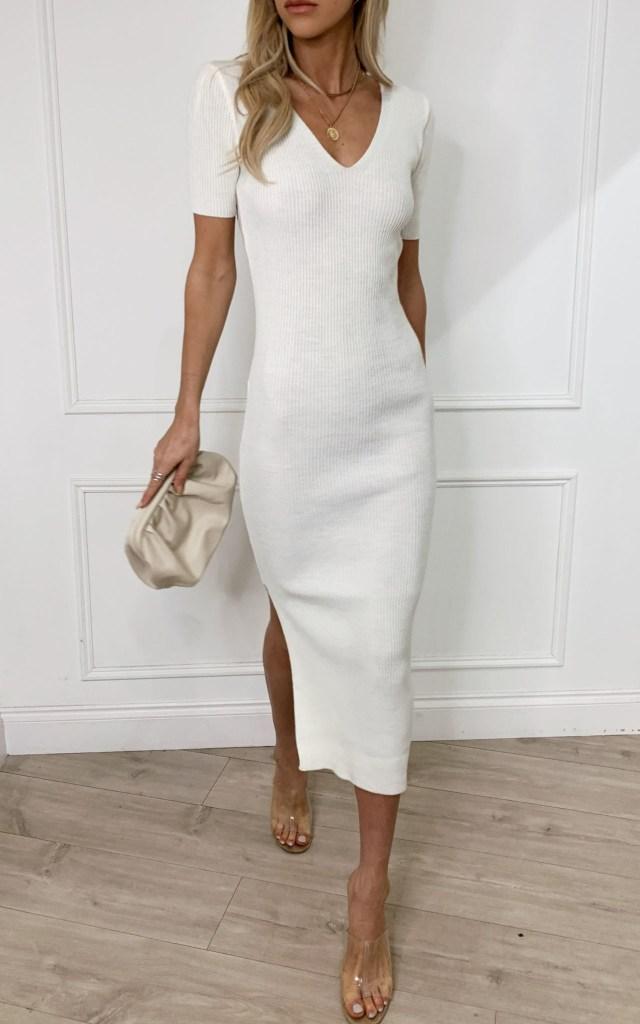 Lara Ribbed Midi Dress in Light Cream