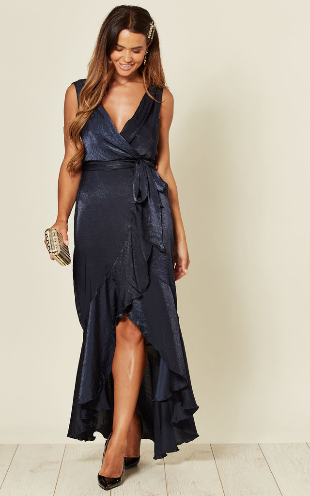 Wrap Front Maxi Dress in Navy