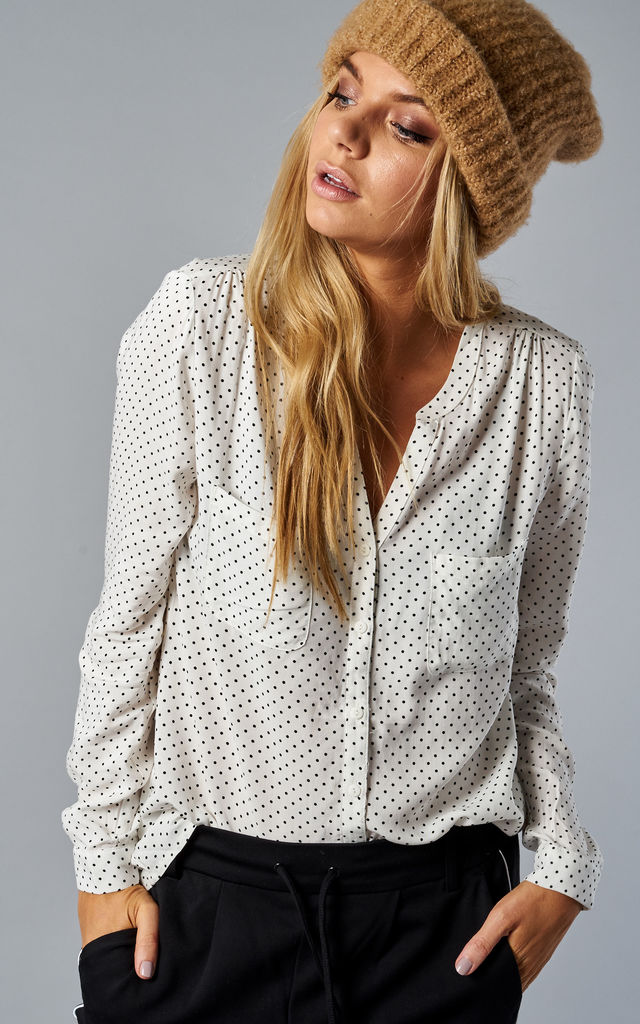 Cloud Dancer Dot Print Long Sleeve Shirt With Pockets by ONLY | £20