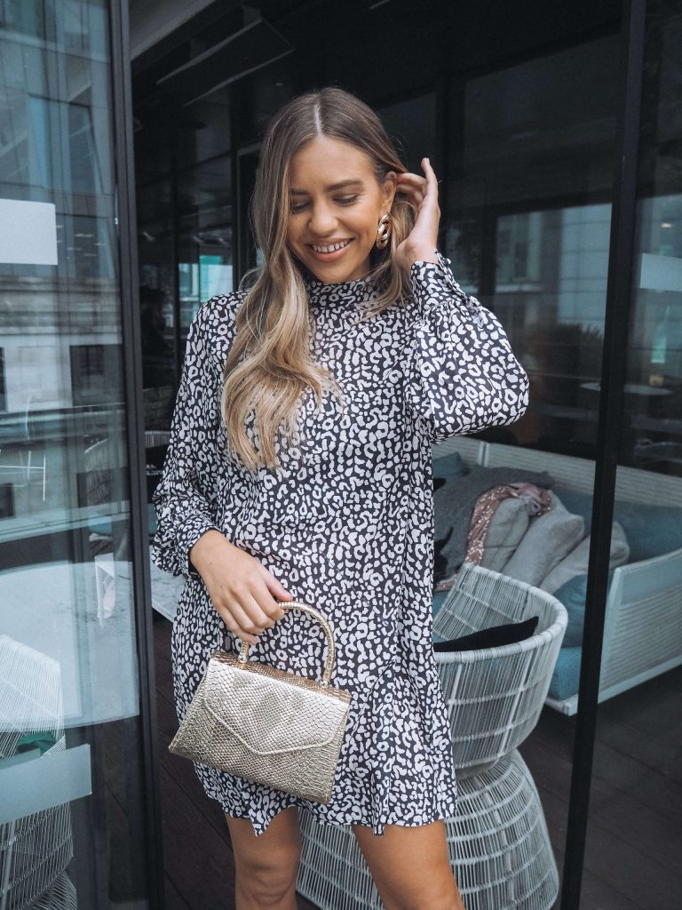 smock dress in black and white leopard print
