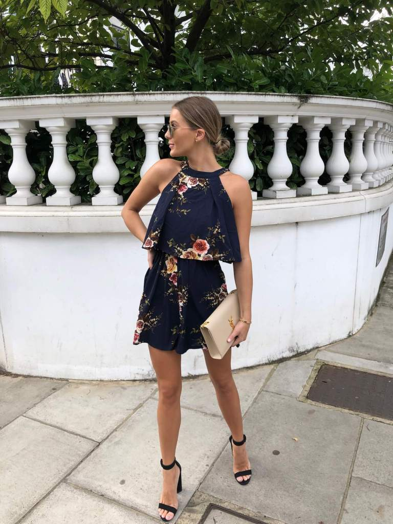 Ruby Double Layer Floral Playsuit Navy by Girl in Mind | £32