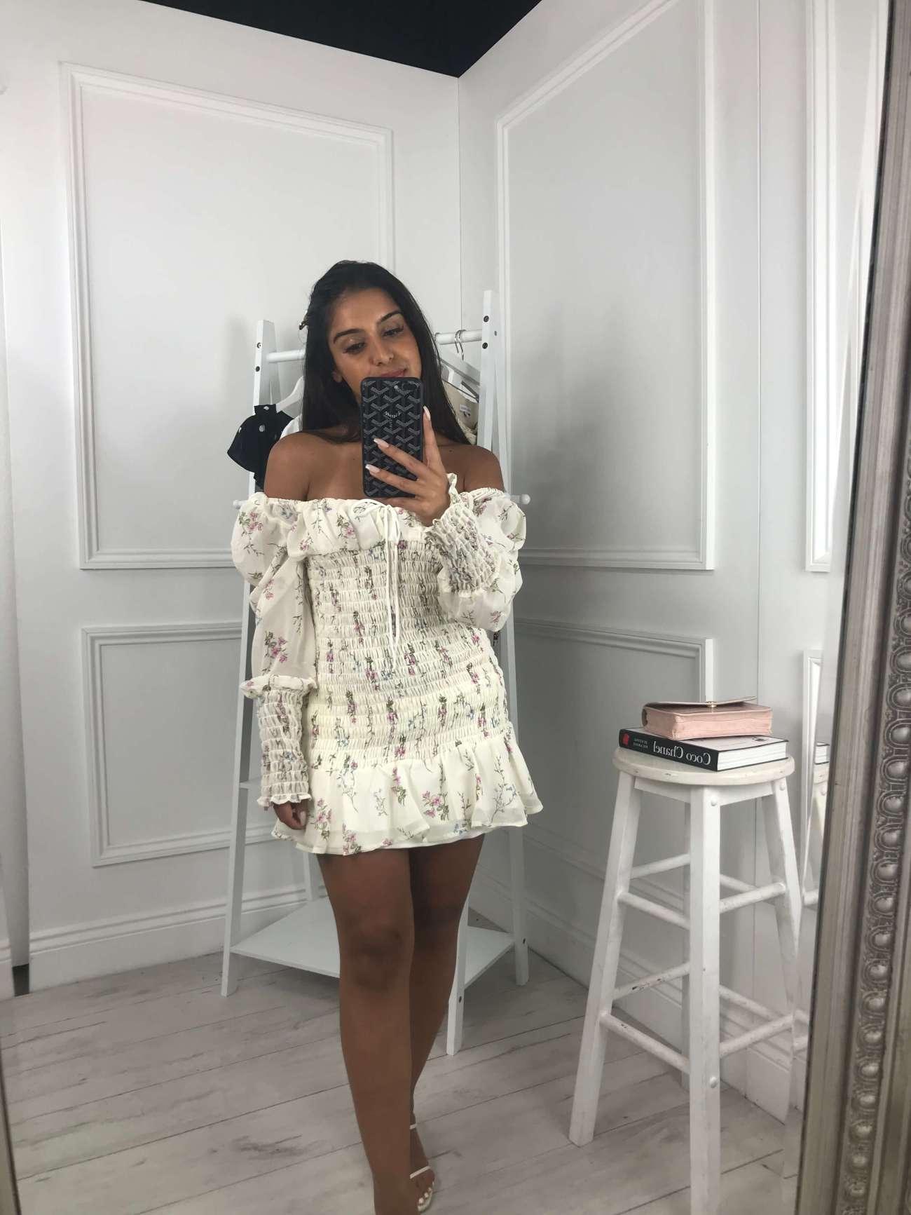 sid-petite-floral-print-shirred-mini-dress-white