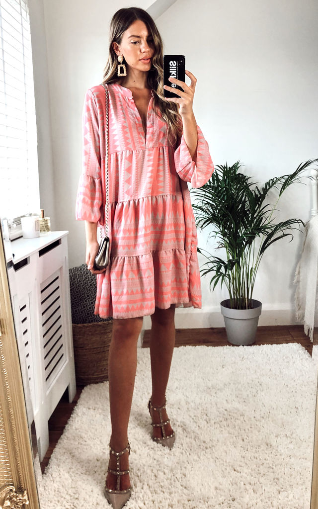 long-sleeve-tiered-mini-frock-stripped-dress-in-pink-summer-day-dress