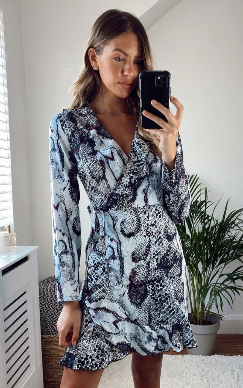purple-snake-print-wrap-frill-mini-dress