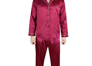 0882262cc5 2 PCS Set Big   Tall Super Silk Mens Silk Pajama   Lounge Top   Pants Set  Burgundy