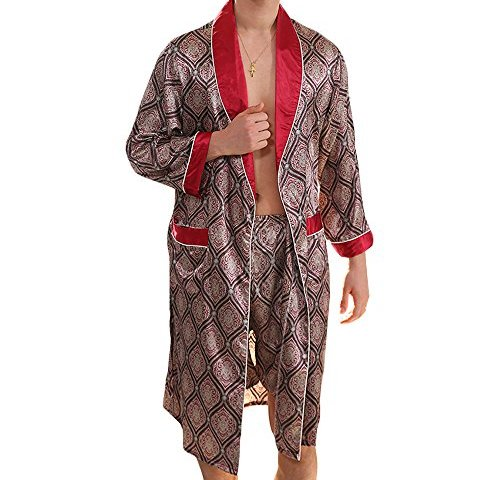 MAGE MALE Men s Summer Luxurious Kimono Soft Satin Robe with Shorts  Nightgown Long-Sleeve Pajamas Printed Bathrobes · Silk ... d8a3a77f4