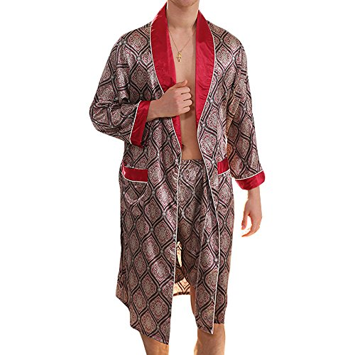 MAGE MALE Men s Summer Luxurious Kimono Soft Satin Robe with Shorts Nightgown  Long-Sleeve Pajamas Printed Bathrobes eed6d08f2