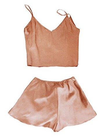 c548ad85a0 Womens Silk Pajamas Short Sets Cute Summer Satin Sleepwear Crop Cami Top  and Shorts