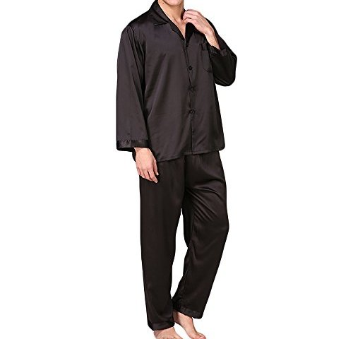 MAGE MALE Men s Silk Satin Pajama Set Sleepwear Nightclothes Casual Loungewear  PJ Set 433bd2d23