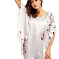 ... Silk Sleepwear PJ Set · SexyTown Women s Plus Size Short Batwing Sleeve  Nightgown 074d233d1