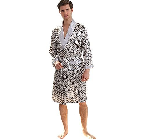 54fa3aa5a1 WEEN CHARM Men s Kimono Satin Luxury Robe with Pajama Shorts Loungewear  Sleepwear Long Silk Bathrobe Boxer Short Set