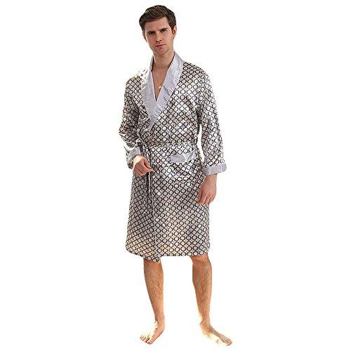 WEEN CHARM Mens Kimono Satin Luxury Robe with Pajama Shorts Loungewear Sleepwear Long Silk Bathrobe Boxer Short Set