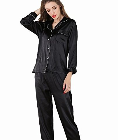 827be54e88 VlSl Womens Silk Satin Pajamas Set Sleepwear Loungewear Two-Piece Long  Sleeve Pajama Set