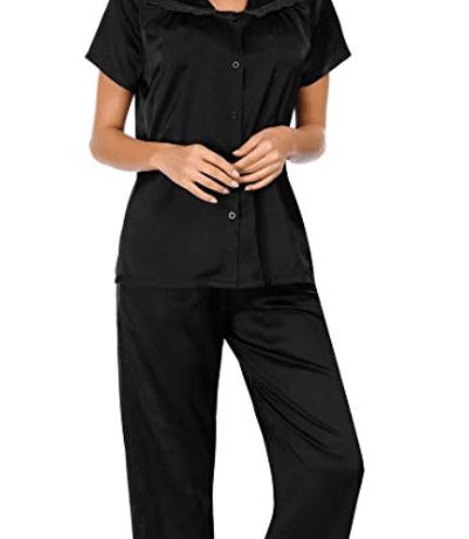 47ef7df5830 Zexxxy Satin Pajamas for Women Two Piece Short Sleeve Sleepwear S-XXL
