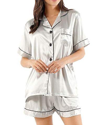 COSOSA Mens Silky Stain Pajamas Set Short Sleeve Sleepwear Two Pieces Pj Sets
