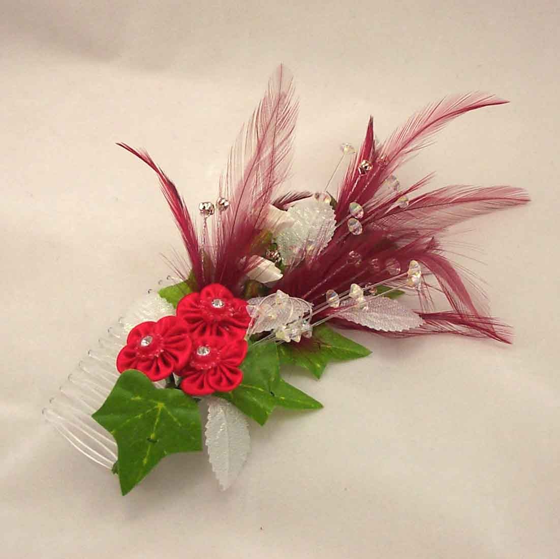 Hair Combs Red Feather Amp Silver Diamante Hair Comb