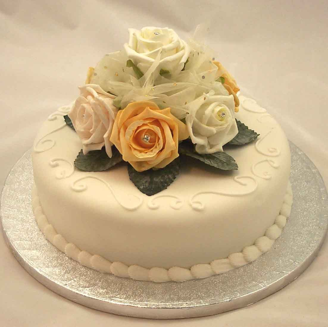 Cake Decorations Ivory Amp Gold Rose Diamante Organza Cake