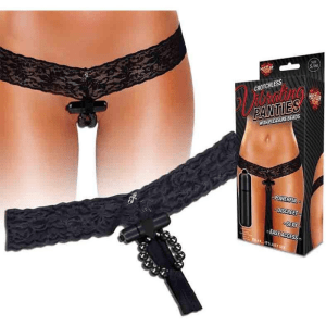 Hustler Crotchless Vibrating Lace Panties Beads, Black, Medium:Large