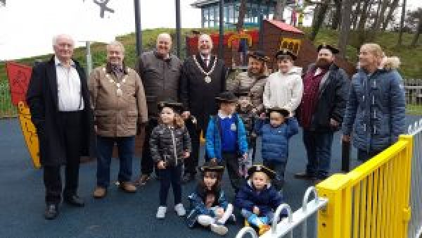 people at opening of new play area
