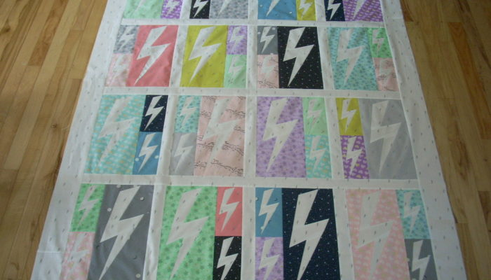 lightning crashes quilt top