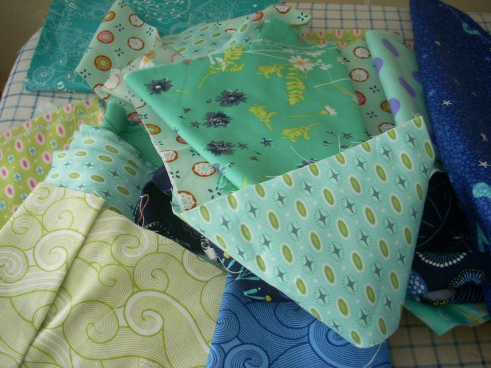 blue and green quilt project