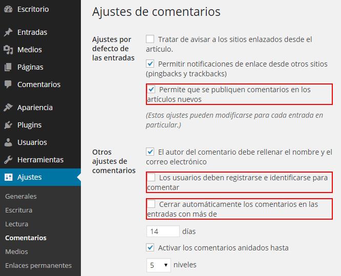 activar comentarios en WordPress