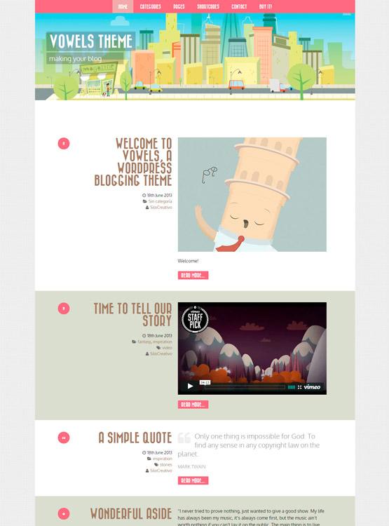 Vowels • Plantilla WordPress para Blogs con Diseño • Silo Creativo