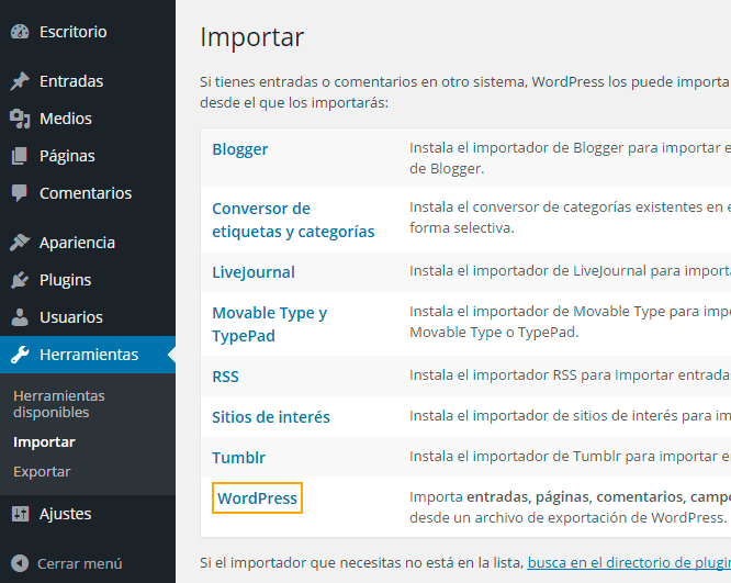 Importador de datos en WordPress