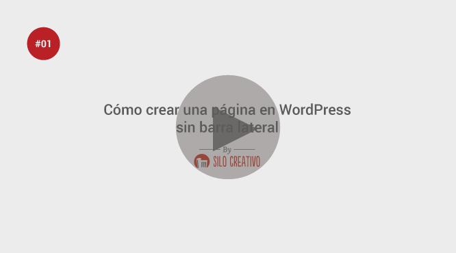 Video Tutorial: Cómo Crear una Página en WordPress sin Barra Lateral ...
