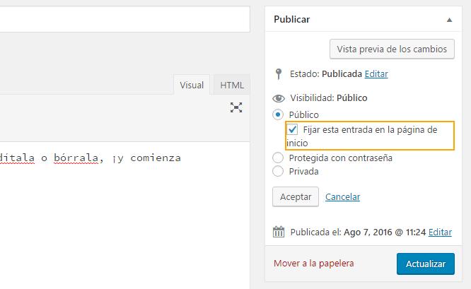 Marcar artículo como destacado en WordPress