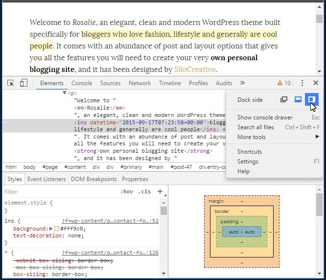 Fijar posición inspector código CSS