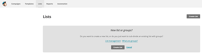 Crear nueva lista en Mailchimp