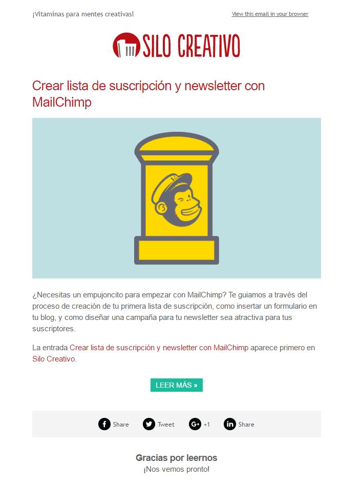 Ejemplo Newsletter Mailchimp