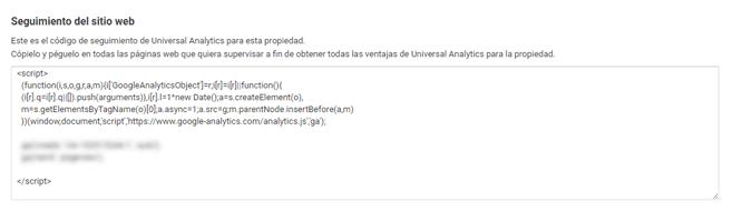 Código JS de seguimiento Analytics