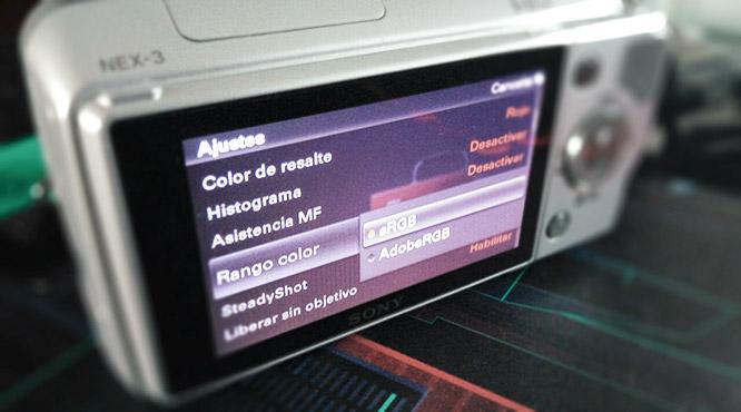 Elección del rango de color en una cámara fotográfica