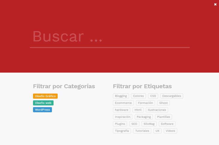 Buscador de categorías y etiquetas