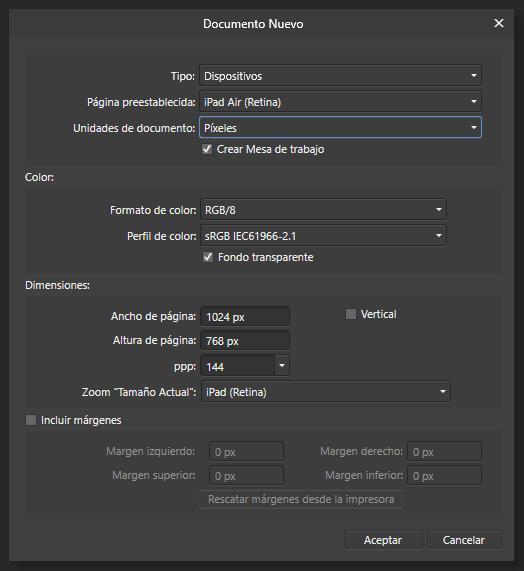 Menú para la creación de Nuevo Documento en Affinity Designer