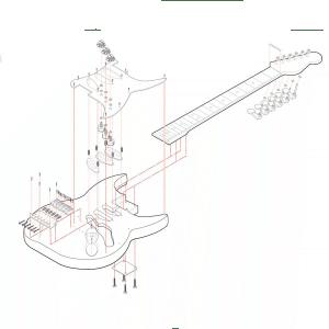 Despiece isométrico de guitarra